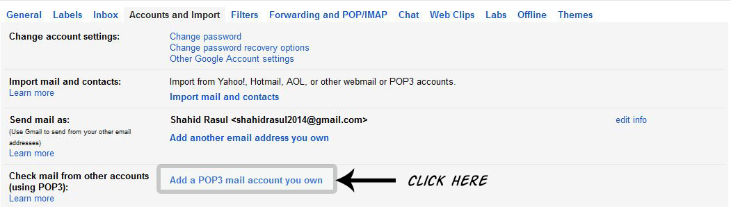 POP3 email integration with Gmail