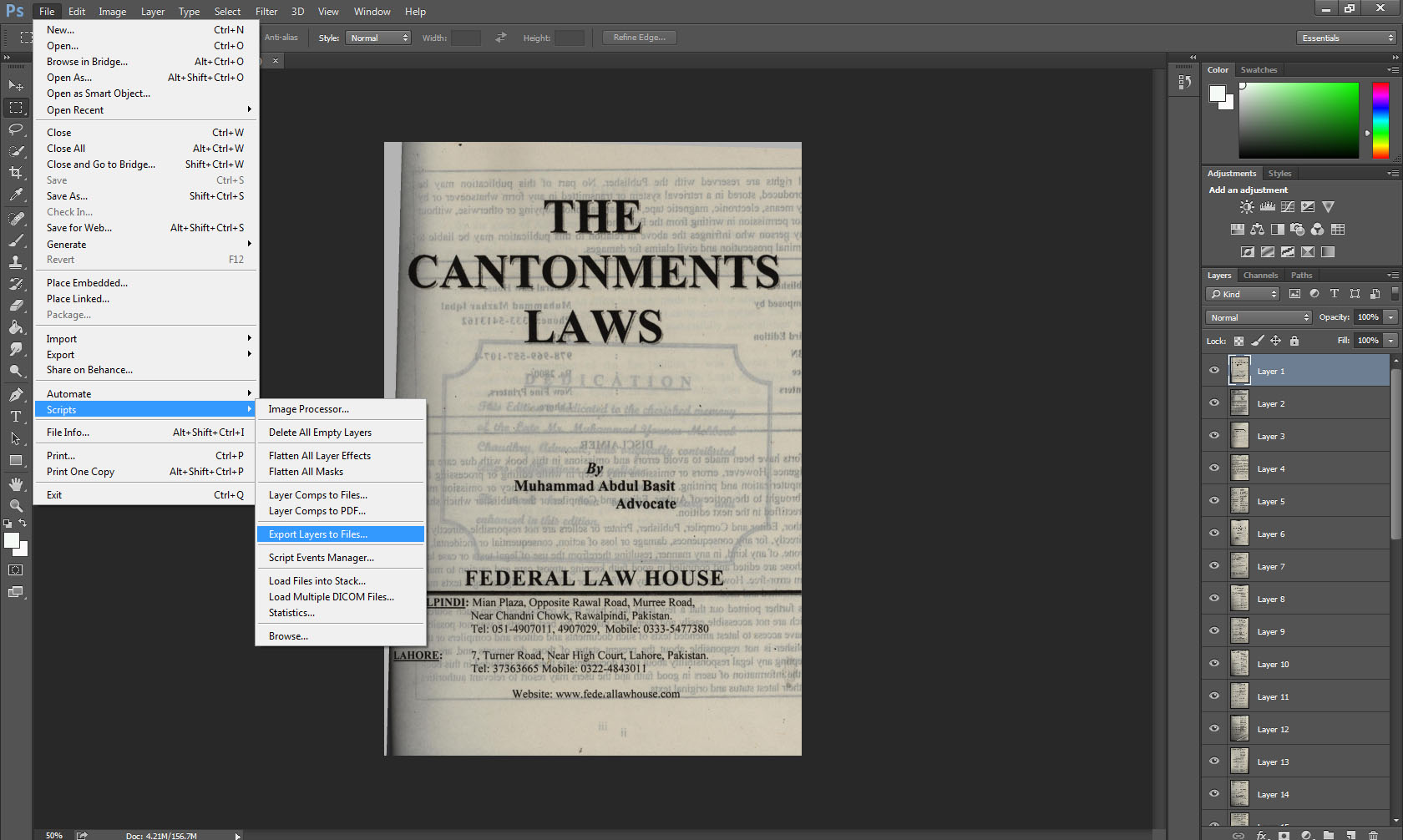 Convert jpg layers into pdf